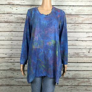 Philosophy Art To Wear Blue Floral Tunic Shirt Top